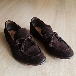 Aldo brown suede loafers with tied tassels